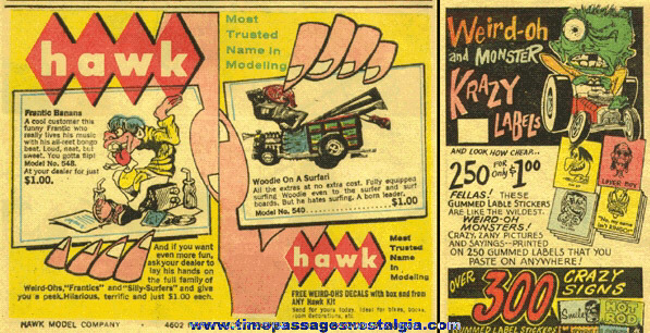 (2) Old WEIRD-OH Magazine Advertisements