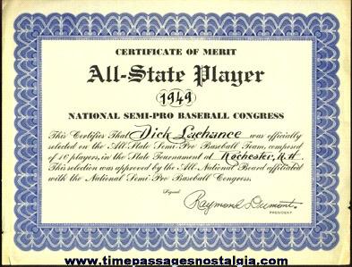 (2) 1949 NATIONAL SEMI-PRO BASEBALL TOURNAMENT Items