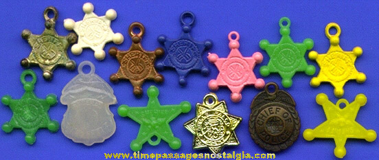 (13) Old Gum Ball Machine Prize Police Badge Charms
