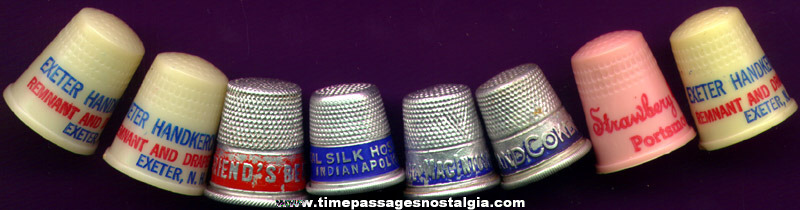 (8) Old Advertising Premium Sewing Thimbles