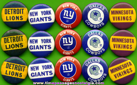 (15) Football Team Pin Back Buttons