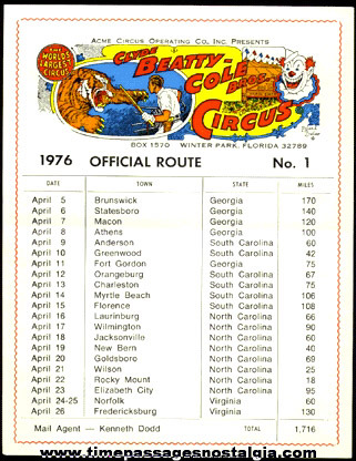 (9) Old CLYDE BEATTY - COLE BROS. CIRCUS Route Cards