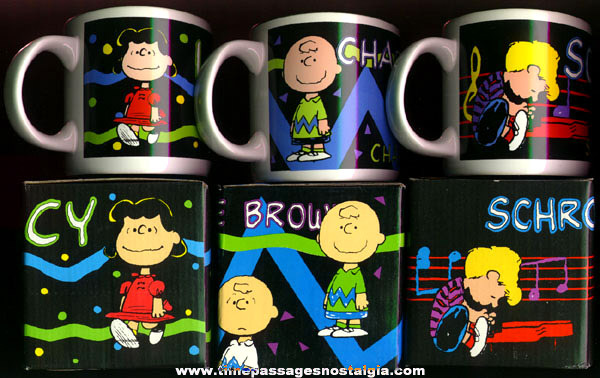 (3) Different Boxed PEANUTS Characters Coffee Cups / Mugs