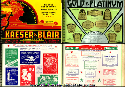 �1938 KAESER & BLAIR Printing And Novelty Catalog With Many Samples