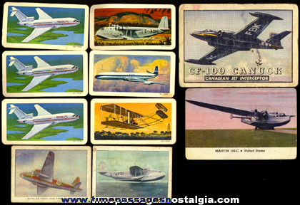 (10) Old Airplane Trading Cards