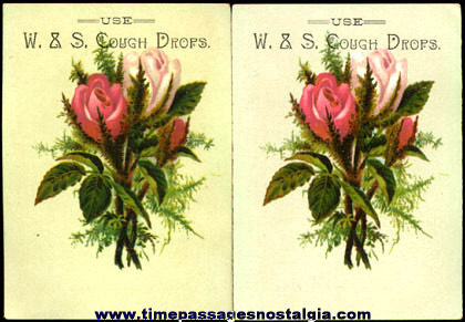 (2) Old Matching Cough Drop Trade Cards