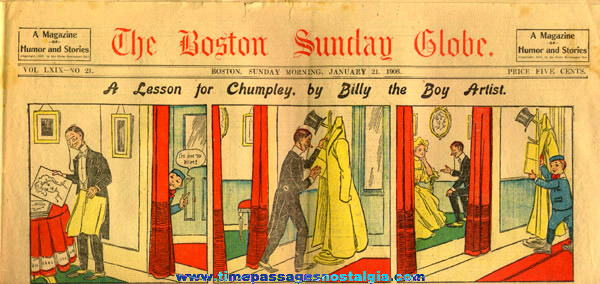 January 21st, 1906 Boston Sunday Globe Newspaper Color Comic / Cartoon Section
