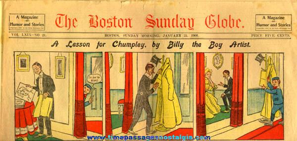 January 21st, 1906 Boston Sunday Globe Newspaper Color Comic / Cartoon Section
