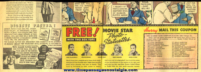 1936 Quaker Oats Cereal Movie Star Photo Statuette Newspaper Premium Offer