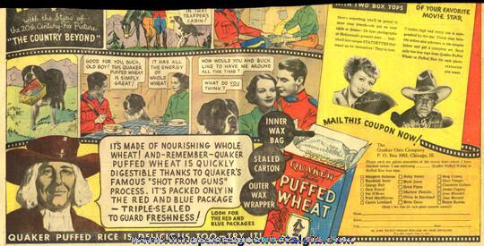 1936 Quaker Oats Cereal Movie Star Photo Statuette Newspaper Premium Offer
