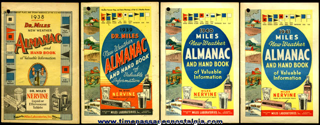 (4) 1938 - 1941 Dr. Miles Almanac / Handbooks
