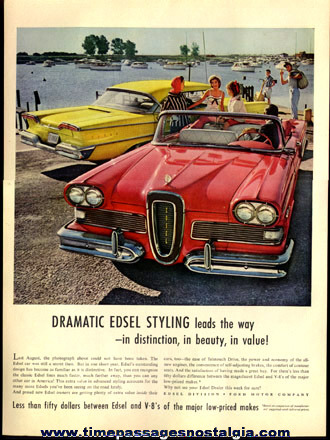 (8) Different Large And Colorful Ford EDSEL Advertisements