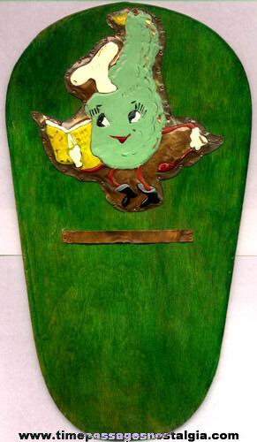 Old Copper & Wood Kitchen Plaque / Note Holder