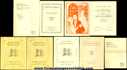 (9) 1920's Framingham Massachusetts Normal School Music & Theatre Programs