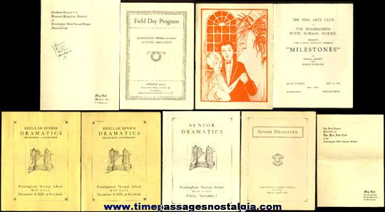 (9) 1920's Framingham Massachusetts Normal School Music & Theatre Programs