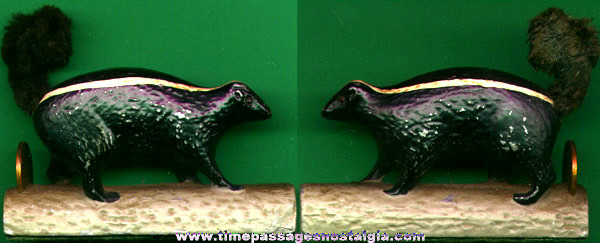 Old Painted Cast Metal Skunk Figurine
