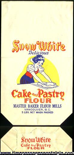 Old Unused SNOW WHITE Paper Flour Bag