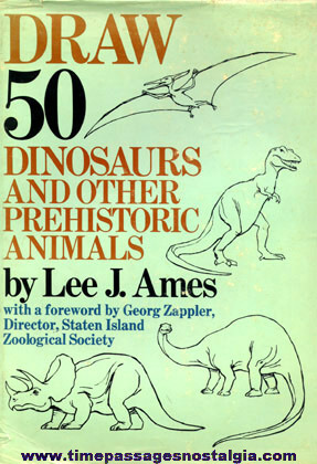 """©1977 Art Book Entitled """"DRAW 50 DINOSAURS AND OTHER PREHISTORIC ANIMALS"""""""