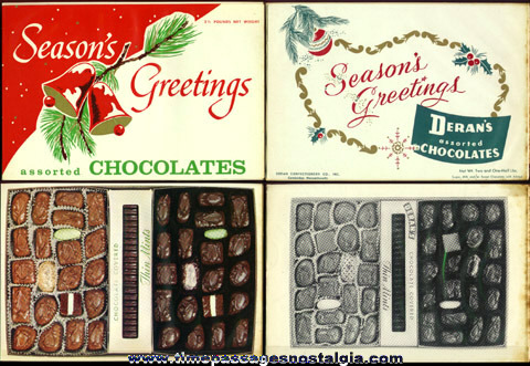 (2) 1950's 2-1/2 Pound Deran's Candy Salesman Sample Box Cover Designs With Inserts