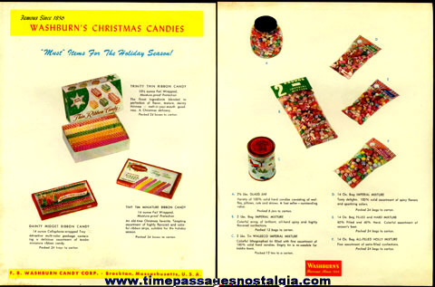 Two-Sided 1950's F.B. WASHBURN CANDY CORPORATION Salesman's Advertising Sheet