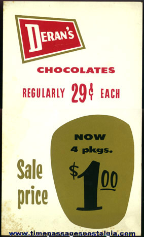 1950's DERAN'S Paper Candy Price Sign