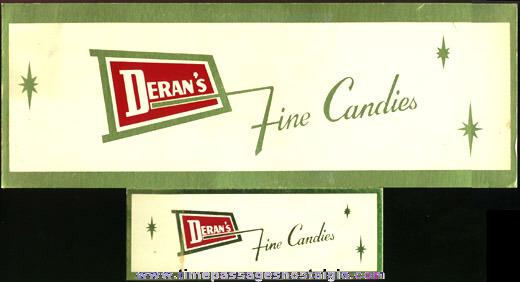 (2) 1950's DERAN'S Cardboard Candy Signs