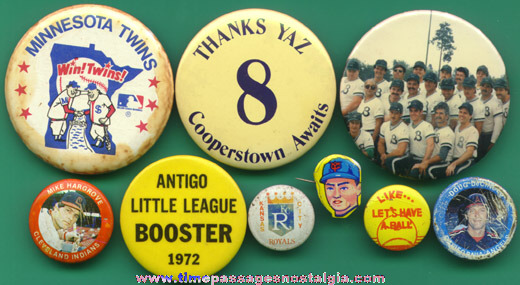 (9) Different Baseball Pin Back Buttons