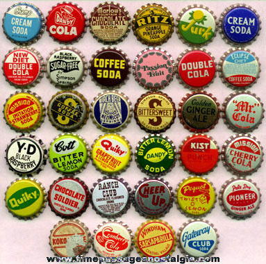 34) Different Old Soda Advertising Bottle Caps - TPNC
