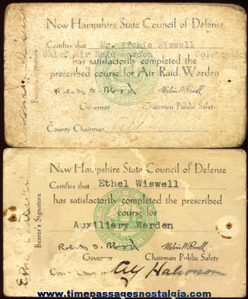 (2) Old New Hampshire Civil Defense Cards