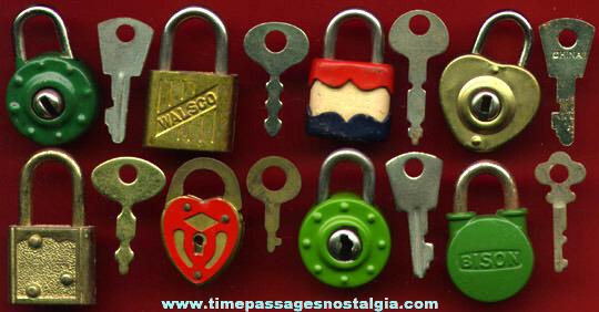 (8) Miniature Pad Locks With Keys