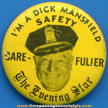 Old Newspaper Police Safety Pin Back Button