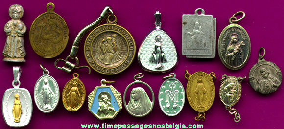 (15) Catholic Or Christian Religious Medals, Charms, & Pins
