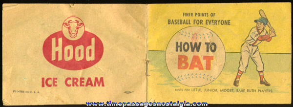 "©1965 HOOD Ice Cream Advertising Premium Baseball Booklet ""HOW TO BAT"""
