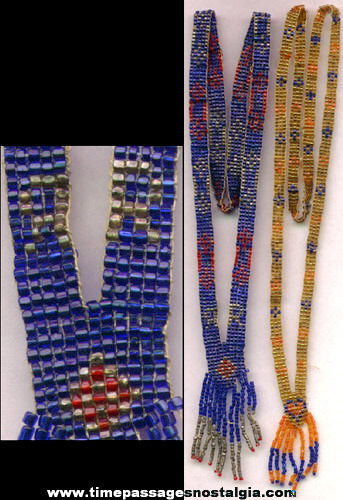 (2) Old Faceted Glass Bead Necklaces