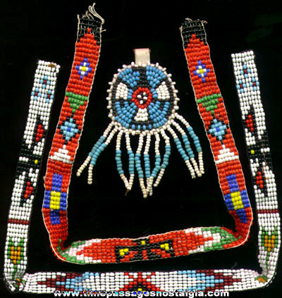(3) Old Glass Beadwork Items