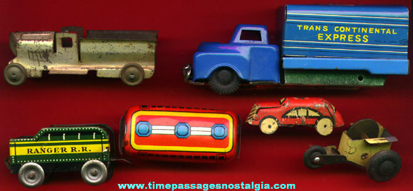 (6) Different Old Tin Toy Vehicles