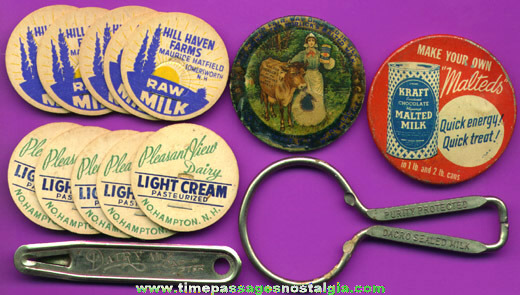 (14) Small Old Dairy / Milk Advertising Items
