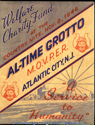 1946 Fraternal AL-TIME GROTTO M.O.V.P.E.R. And SHIREEN Atlanic City Sponsor Book