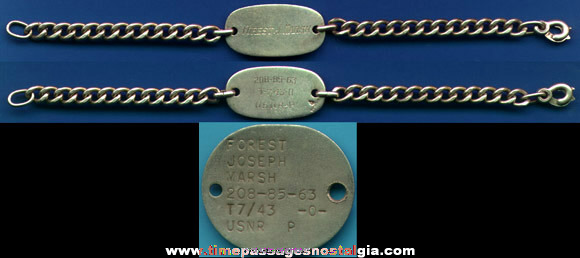 Old Sterling Silver U.S. Navy ID Bracelet With Matching Dog Tag