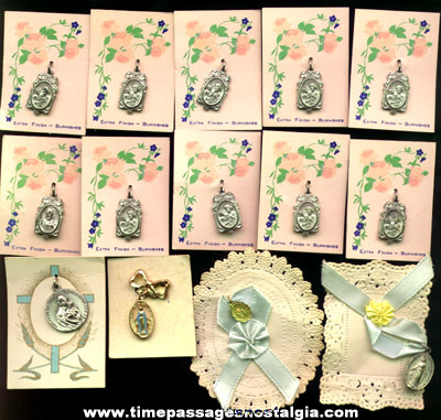(14) Christian / Catholic Carded Religious Medals / Charms