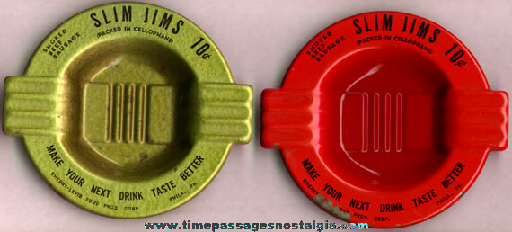 (2) Old Embossed Tin SLIM JIMS Advertising Bar Ashtrays