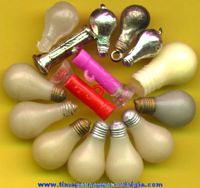 (15) Old Flashlight And Light Bulb Gum Ball Machine Charms