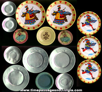 Mixed Lot Of (16) Old Tin Toy Dishes