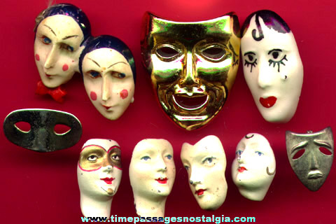 (9) Old Face and Mask Pins