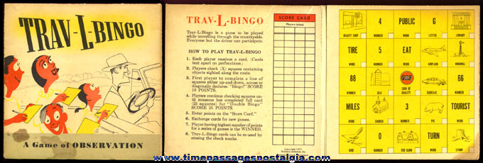 "©1951 Gulf Gasoline ""TRAV-L-BINGO"" Advertising Premium Game"