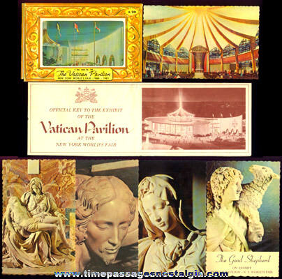 (8) 1964 -1965 New York World's Fair Vatican Pavilion Paper Souvenir Items
