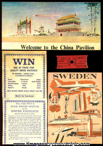 (4) 1964 -1965 New York World's Fair Paper Souvenir Items