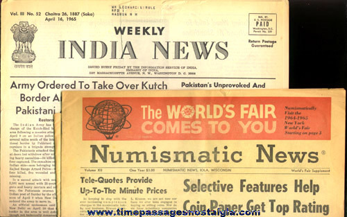 (2) 1964 -1965 New York World's Fair Paper Souvenir Items