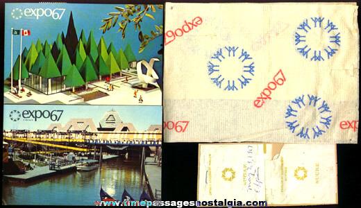 (5) 1967 Montreal, Canada Expo Paper Souvenir Items