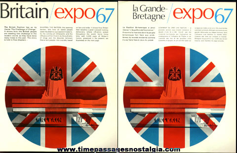 (4) 1967 Montreal, Canada Expo Paper Souvenir Items